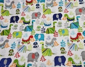Flannel Fabric - Dinos and Woolly Mammoth on White - By the yard - 100% Cotton Flannel