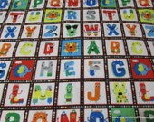 Flannel Fabric - ABC Squares - By the yard - 100% Cotton Flannel