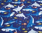 Flannel Fabric - Happy Shark Friends Multi - By the yard - 100% Cotton Flannel