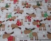Christmas Flannel Fabric - Christmas Moose Grey - By the yard - 100% Cotton Flannel