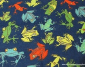 Flannel Fabric - Frogs Navy - By the yard - 100% Cotton Flannel