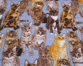 Flannel Fabric - Cats on Gray - By the Yard - 100% Cotton Flannel