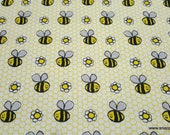 Flannel Fabric - Happy Sketch Bee - By the yard - 100% Cotton Flannel