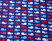 Flannel Fabric - Whales Red Blue - By the yard - 100% Cotton Flannel
