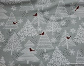 Christmas Flannel Fabric - Red Cardinals in Trees - By the yard - 100% Cotton Flannel