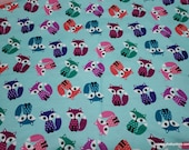 Flannel Fabric - Colorful Foxes - By the yard - 100% Cotton Flannel