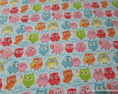 Flannel Fabric - Tree Party Owls Light Blue - By the yard - 100% Cotton Flannel