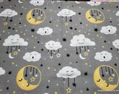 Flannel Fabric - Moon Clouds Grey - By the yard - 100% Cotton Flannel