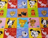 Flannel Fabric - Puppy Patch - By the yard - 100% Cotton Flannel
