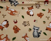 Flannel Fabric - Baby Animals Tossed - By the Yard - 100% Cotton Flannel