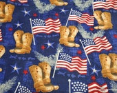 Flannel Fabric - Americana Boots and Flags - By the yard - 100% Cotton Flannel