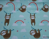 Flannel Fabric - Rainbow Sloth - By the Yard - 100% Cotton Flannel