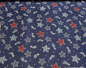 Flannel Fabric - Patriotic Stars on Blue - By the yard - 100% Cotton Flannel