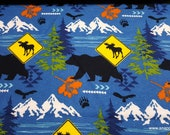 Flannel Fabric - Bear Moose Crossing - By the yard - 100% Cotton Flannel