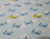 Flannel Fabric - Airplane Fun Blue Sky - By the yard - 100% Cotton Flannel