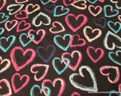 Flannel Fabric - Brushed Hearts on Black - By the yard - 100% Cotton Flannel