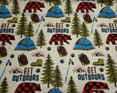 Flannel Fabric - Get Outdoors - By the yard - 100% Cotton Flannel
