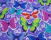 Flannel Fabric - Colorful Butterflies on Purple - By the yard - 100% Cotton Flannel