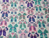 Flannel Fabric - Pastel Patterned Butterfly - By the yard - 100% Cotton Flannel
