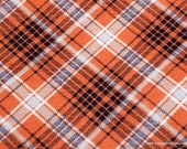 Flannel Fabric - Kate Orange Navy Plaid - By the Yard - 100% Cotton Flannel