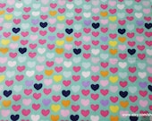Flannel Fabric - Multi Bright Hearts - By the yard - 100% Cotton Flannel