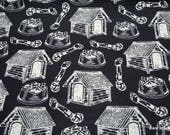 Flannel Fabric - Sketch Black Dog House - By the Yard - 100% Cotton Flannel