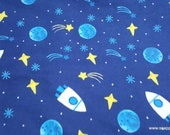 Flannel Fabric - Stars Rockets in Space on Blue - By the yard - 100% Cotton Flannel