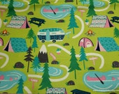 Flannel Fabric - Bright Campsite - By the Yard - 100% Cotton Flannel