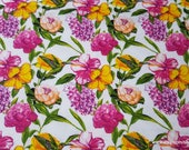 Flannel Fabric - Hummingbird Floral - By the yard - 100% Cotton Flannel