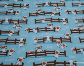 Flannel Fabric - Harmony Farm Sheep Dream Blue - By the yard - 100% Cotton Flannel