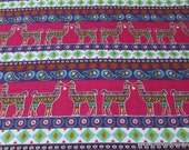Flannel Fabric - Aztec Llamas Stripe - By the yard - 100% Cotton Flannel
