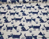 Flannel Fabric - Sketch Dog Navy - By the yard - 100% Cotton Flannel