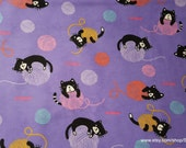 Flannel Fabric - Kitties and Yarn - By the yard - 100% Cotton Flannel