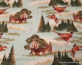 Flannel Fabric - Deer Scenery - By the yard - 100% Cotton Flannel