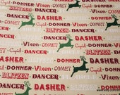 Christmas Flannel Fabric - Reindeer Names - By the yard - 100% Cotton Flannel