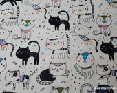 Flannel Fabric - Happy Kitties and Fishies - By the yard - 100% Cotton Flannel