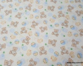 Flannel Fabric - Baby Bear and Ducky - By the yard - 100% Cotton Flannel