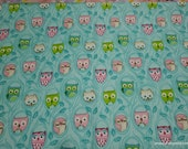 Flannel Fabric - Owls on Teal - By the yard - 100% Cotton Flannel