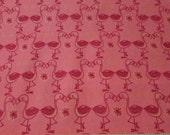 Flannel Fabric - Flamingo Kisses Grapefruit - By the yard - 100% Cotton Flannel