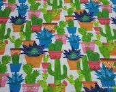 Flannel Fabric - Watercolor Cacti - By the yard - 100% Cotton Flannel