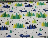Flannel Fabric - Aliens Scenic - By the yard - 100% Cotton Flannel