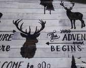 Flannel Fabric - Words Wilderness - By the yard - 100% Cotton Flannel