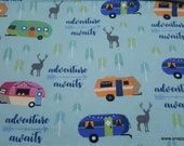 Flannel Fabric - RV on Aqua - By the yard - 100% Cotton Flannel
