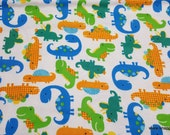Flannel Fabric - Sunny Dinos - By the yard - 100% Cotton Flannel