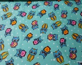 Flannel Fabric - Teal Owls - By the yard - 100% Cotton Flannel