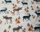 Flannel Fabric - Wooden Moose - By the yard - 100% Cotton Flannel