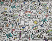 Flannel Fabric - Notebook Cartoons - By the yard - 100% Cotton Flannel