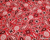 Flannel Fabric - Americana Bandana Red - By the Yard - 100% Cotton Flannel