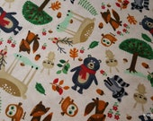 Flannel Fabric - Forest Friends - By the yard - 100% Cotton Flannel