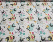 Flannel Fabric - Sheep Knitting - By the yard - 100% Cotton Flannel